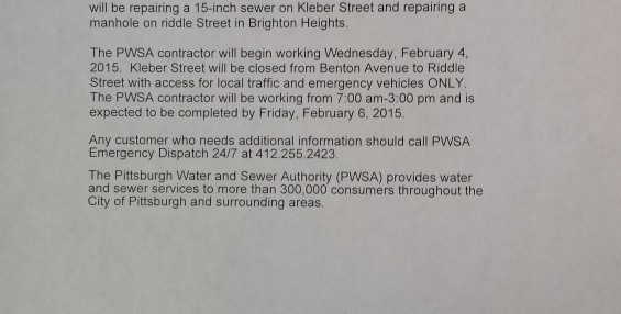 PWSA WILL BE REPAIRING A 15-INCH SEWERER ON KLEBER STREET