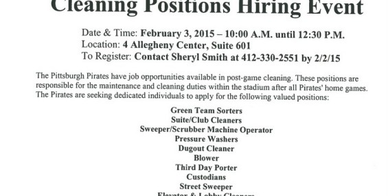 Pittsburgh Pirates Cleaning Positions Hiring Event at NSLC